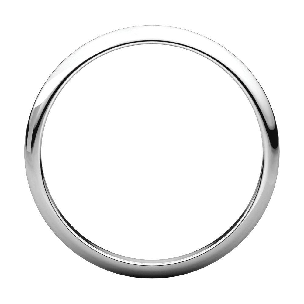 10K White Gold 2.5mm Half Round Band