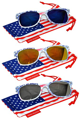 Classic American Patriot Flag Sunglasses Blue Yellow-Red Silver Mirror Lens USA American Flag Ice Denim Frame OWL (White Frame Silver Mirror Lenses)