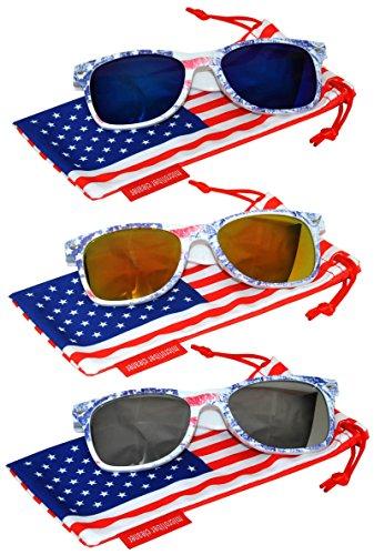 Classic American Patriot Flag Sunglasses Blue Yellow-Red Silver Mirror Lens USA American Flag Ice Denim Frame OWL