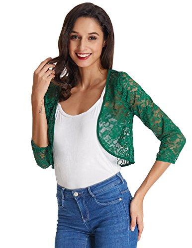 Kate Kasin Short Crochet Bolero Floral Lace Cardigan Top For Women (Dark Green, S) KK430-4 Crochet Dark Green