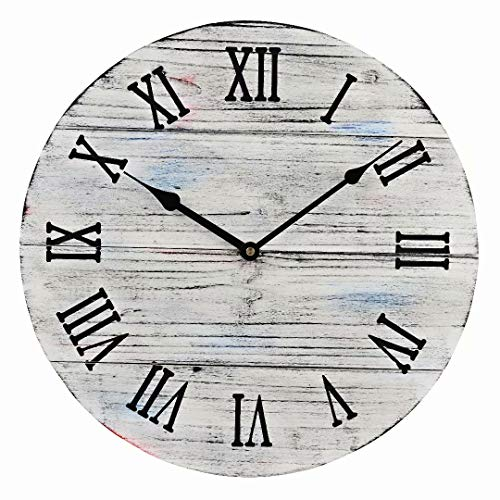 (15.5-Inch White Rustic Farmhouse Wood Large Decorative Wall Clock Silent Non-Ticking Battery Operated with Black Roman Numerals for Home Decor )
