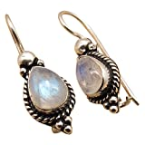 Amazing BLUE FIRE RAINBOW MOONSTONE GIRLS' NOUVEAU Earrings ! 925 Silver Overlay