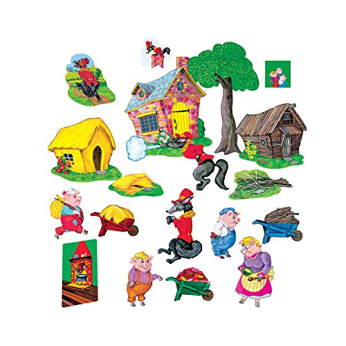Little Folk Visuals Three Pigs Basic Precut Flannel/Felt Board Figures, 20 Pieces Set
