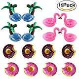 Pool Drink Holder,Topivot 16 Pack Floating Drink Holder Flamingo Drink Holders for Pool Party Water Fun (4 Flamingos,4 Palms,8 Donuts)