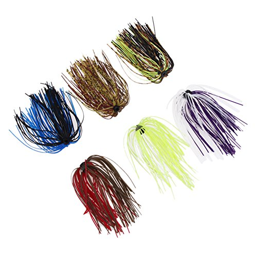 Fishing Jig Skirts (Domybest 6 Bundles Silicone Skirts DIY Salty Rubber Jig Lures Squid Fishing Bait)