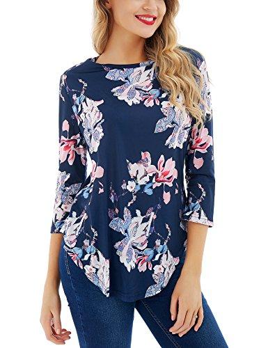 Dcontract 3 Manches 4 Manches Floral Neck O Femmes pour Shirt Floral Print 2 Dromild 5tqBwnF5