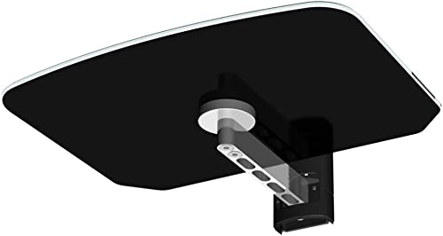 OLLO OlloFlex Glass Audio-Video Component Shelf with Brushed Aluminum Arm with Cable Cover Black