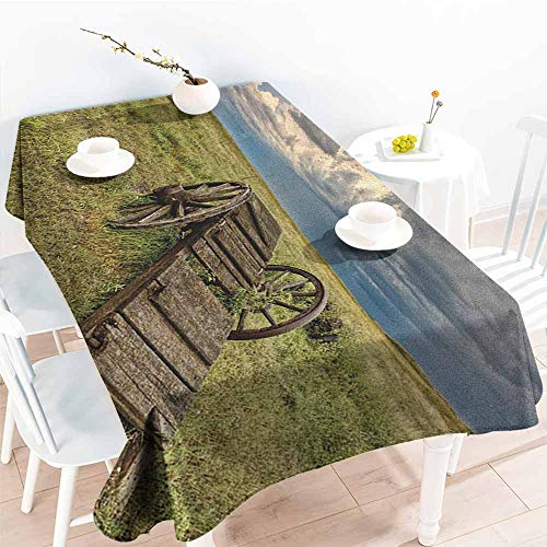 familytaste Barn Wood Wagon Wheel,Decorative Print Tablecloth Old Prairie Cart Agricultural Field Ranch Dramatic Stormy Sky 70