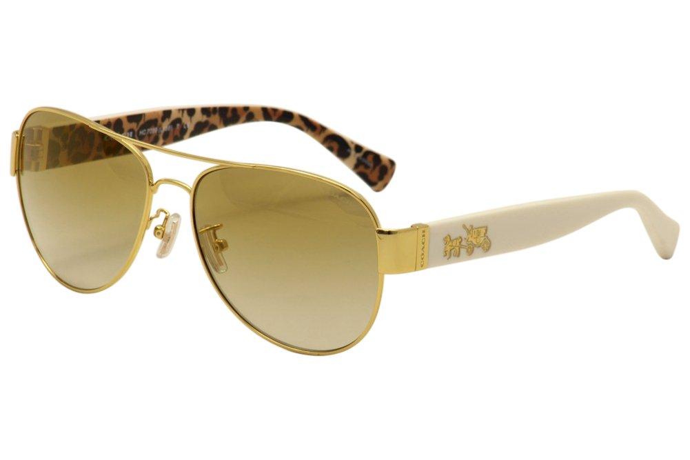 Coach Women's HC7059 Sunglasses Gold/Ivory Wild Beast/Gold Flash Gradient 58mm