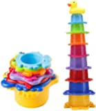Stacking Cup Bath Toys for Baby, Toddlers, and Kids, Stack-Up Cups in Rainbow Colors with Under The Sea Animal Shapes…