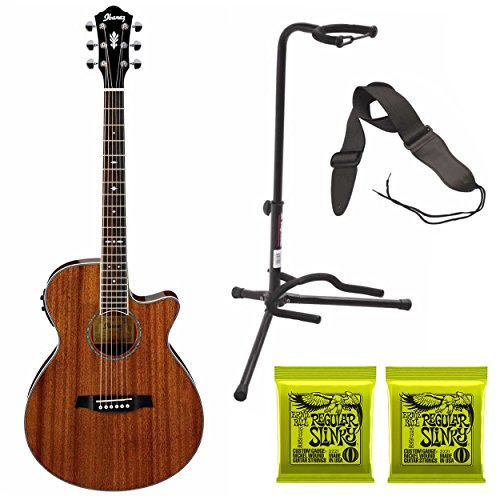 Ibanez AEG12IINT Acoustic-Electric Guitar (Natural High Gloss Finish) Included Guitar Stand, 2 Extra Sets of Strings and Guitar Strap