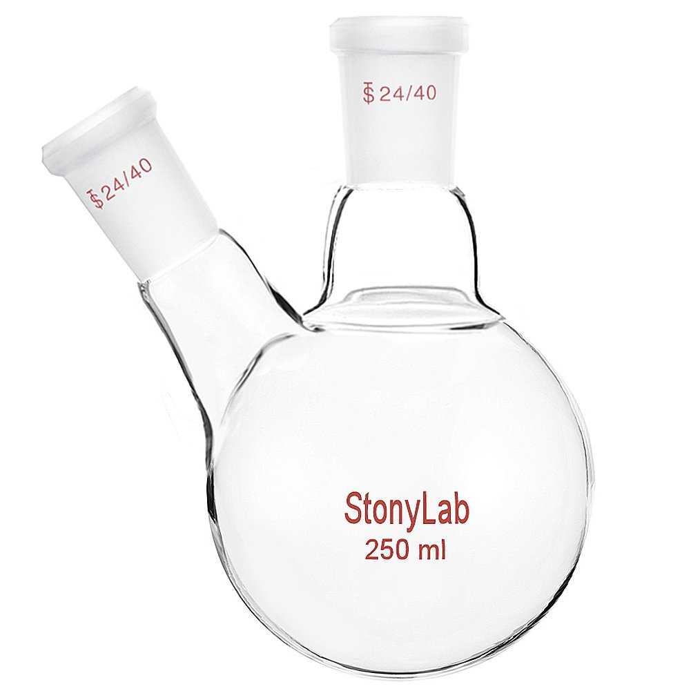 StonyLab Glass 250ml Heavy Wall 2 Neck Round Bottom Flask RBF, with 24/40 Center and Side Standard Taper Outer Joint - 250ml