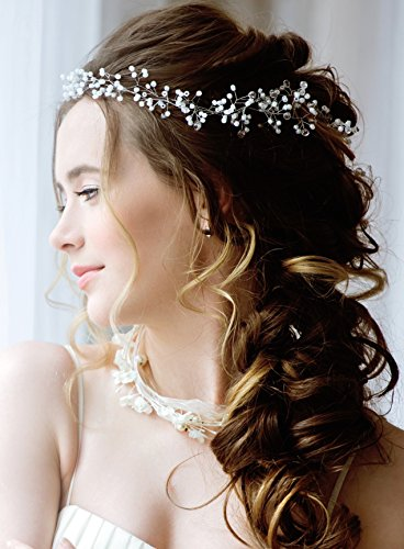 Bridal Headpiece (Bridal Hair accessories for Bride, Bridesmaids-19in Wedding Hair Piece- Silver and Pearl Hair Jewelry Bridal Head Piece- Crystal Pearl Hair Pins included)
