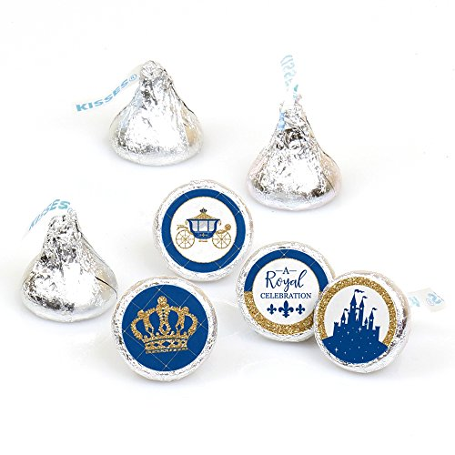 Royal Prince Charming - Baby Shower or Birthday Party Round Candy Sticker Favors - Labels Fit Hershey's Kisses (1 Sheet of 108) ()