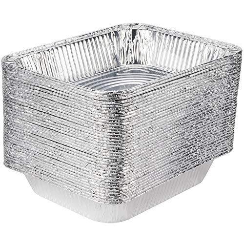 [30 Pack] 9 x 13 Aluminum Foil Pans Half Size Deep Steam Table Pans (Steam Table Pan Rack)