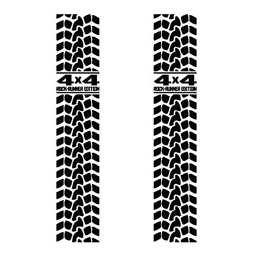 """Auto Vynamics - UNIV-BEDSTRIPE-TREAD-4X4RRE-GBLA - Gloss Black Vinyl Tire Tread Universal Truck Bed / Bedside Stripe Decal - """"4x4 Rock-Runner Edition"""" Design - Matching Pair - (2) Decals - 9-by-48-inches - For Compact & Fullsize Pickups!"""