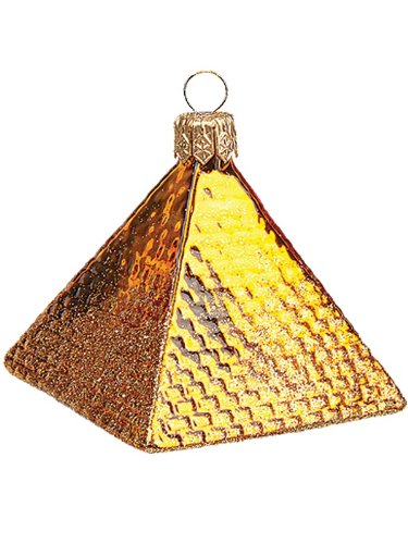 Pinnacle Peak Trading Company Mini Egyptian Pyramid Polish Mouth Blown Glass Christmas Ornament ()