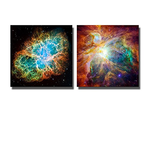 wall26 Canvas Prints Wall Art - The Cosmic Cloud Orion Nebula and Crab Nebula | Modern Wall Decor/Home Decoration Stretched Gallery Canvas Wrap Giclee Print & Ready to Hang - ()