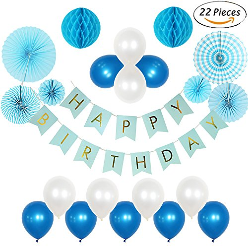 22Pcs Baby Blue Happy Birthday Party Hanging Decorations kit with Letter Banner Latex Balloons Paper Fans for 1 st Boy Bridal Shower (Happy Birthday Packages)