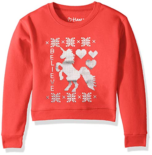 Hanes Big Girls Ugly Christmas Sweatshirt, Best red, Small (Red Girls Sweaters)