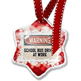 Christmas Ornament Warning School Bus Driver At Work Vintage Fun Job Sign, red - Neonblond