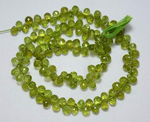 GemAbyss Beads Gemstone Peridot Tear Drops Beads, Peridot Faceted Cut Drops Side Drill Briolettes Gemstone for Jewelry, 5x7mm Approx, 15.5 Inch Strand Code-MVG-23582