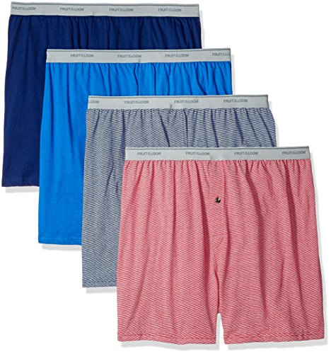 Fruit of the Loom Men's Soft Stretch-Knit Boxer Multipack, Exposed Waistband - Assorted (4 Pack), 3X-Large