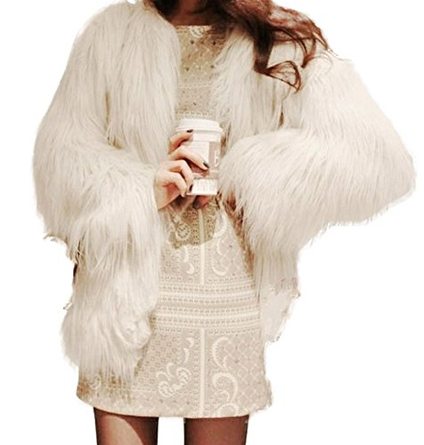 GESELLIE Women's Warm Soft Hairy Faux Fur Cardigan Outwear Jacket Coat White by GESELLIE
