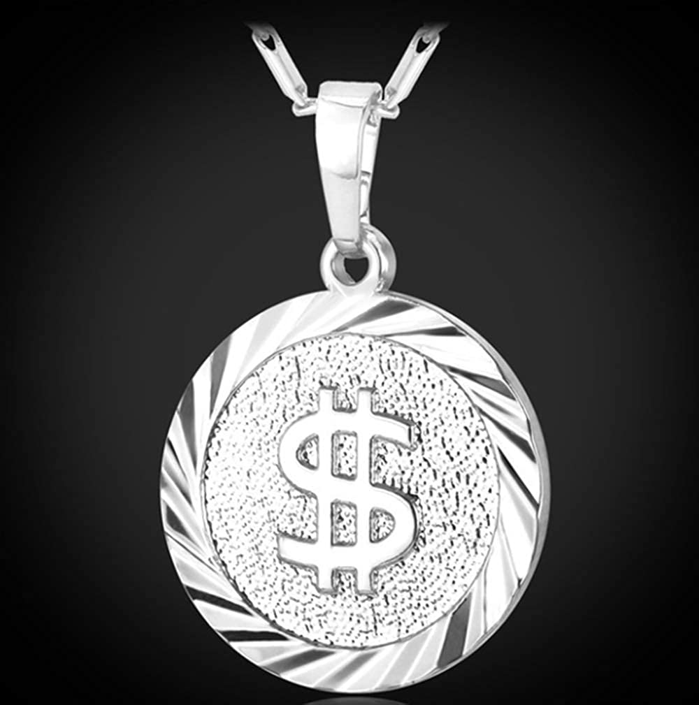 Coin Necklace Men//women Fashion Jewelry Yellow Silver//gold Color Round Medal Money Sign Us Dollar Necklaces