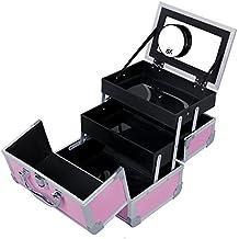 SONGMICS Portable Makeup Train Case Mini Alumi Cosmetic Organizer Box with Mirror 2 Trays Pink UMUC11P