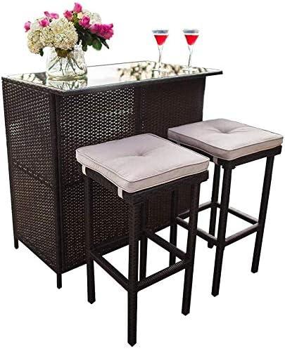 Skiway 3-Piece Patio Bar Table Set Outdoor Rattan Wicker Furniture