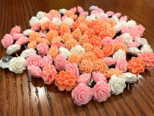 24Pcs Decorative Push pins,Cork Board Tacks,Bulletin Board Tacks,Thumb Tack Decorative for CorkBoard, Office Organization or Home (Pink)