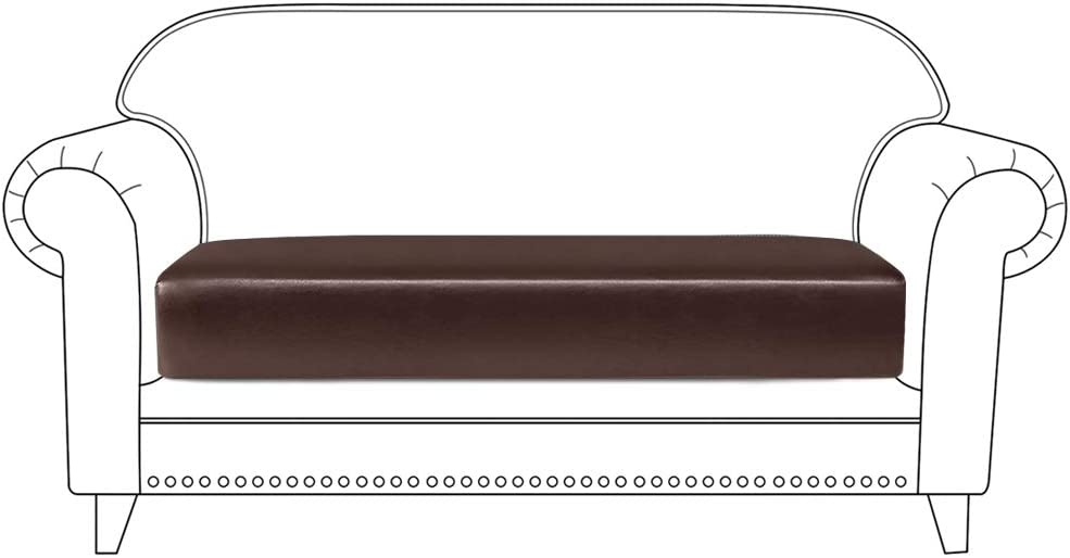 ANMINY PU Leather Sofa Couch Seat Cushion Covers Loveseat Stretchy Slipcover Anti-Slip Super Soft Furniture Protector with Elastic Bottom (2 Seater, Coffee)