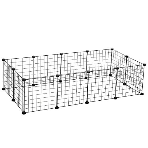 SONGMICS Pet Playpen Includes Cable Ties, Upgrade Customizable Animal Fence, Metal Wire Pen Fence for Small Animals, Bunnies, Rabbits, Guinea Pigs, Includes Rubber Mallet for Indoor Use ULPI01H