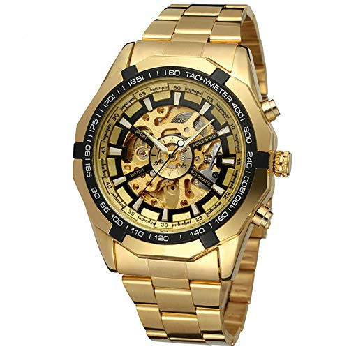 Mechanical Winding Movement Watch - Mechanical Watch Automatic Skeleton Self-Winding Men's Gold Stainless Steel Waterproof Luminous