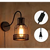 Kiven Plug In Vintage Wall Sconce Edison Cage Wall Lamp Industrial Lighting