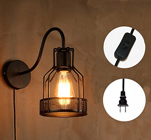 Kiven Plug In Vintage Wall Sconce Edison Cage Wall Lamp Industrial ...