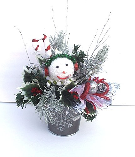 Christmas table centerpiece, Snowman Holiday Table Décor, floral arrangement, snowflake]()