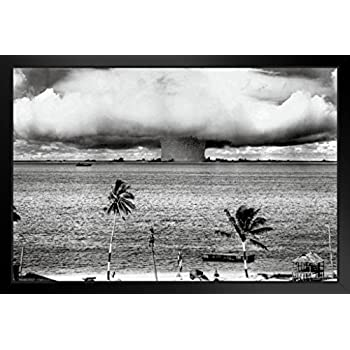 Pyramid America Atomic Bomb Mushroom Cloud Nuclear Weapon Explosion History  B&W Photograph Photo Framed Poster 14x20 inch