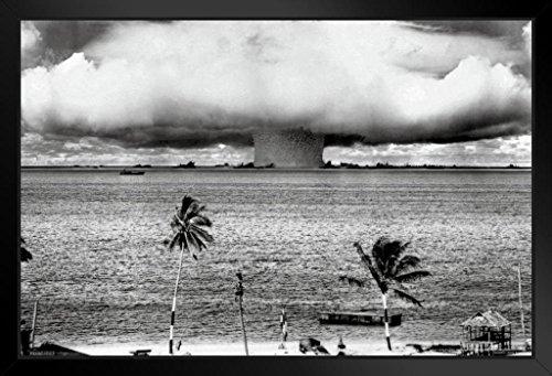 Nuclear Testing Bikini (Atomic Bomb Mushroom Cloud Nuclear Weapon Explosion History B&W Photograph Photo Framed Poster 12x18)