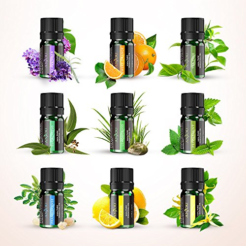 Anjou Aromatherapy Top 9 Essential Oils Set, 100% Pure Therapeutic Grade, Sampler Gift Kit, 9 x 5 ml (Tea Tree, Lavender, Frankincense, Lemongrass, Sweet Orange, Peppermint, Eucalyptus, Lemon etc.) by Anjou (Image #2)