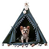 little dove Pet Teepee House Fold Away Pet Tent Furniture Cat Bed with Cushion 28 Inch Grey One