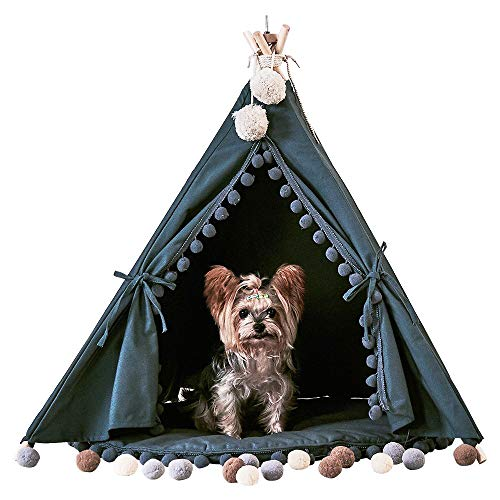 little dove Pet Teepee House Fold Away Pet Tent Furniture Cat Bed with Cushion 28 Inch Grey One ()