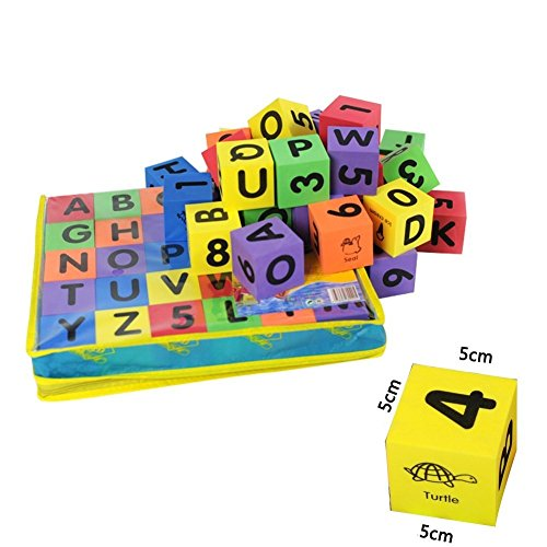 T-Juan MM 30 Pcs 5mm EVA Foam Colorful Montessori Teaching Tool Alphabet Blocks with Letters & Numbers & Learning Pictures for Toddler, Preschool & Kindergarten Educational Building Toy