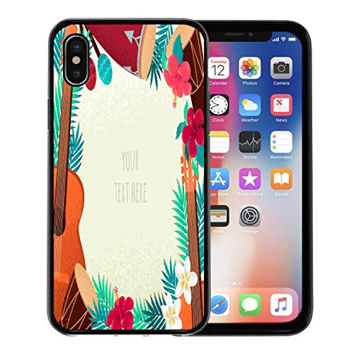 Emvency Phone Case for Apple iPhone Xs Case/iPhone X Case,Guitar Percussion and Conga Drums Maracas Palm Leaves Tropical Soft Rubber Border Decorative, Black