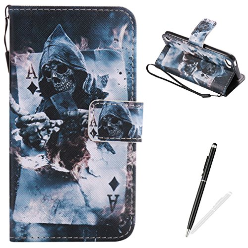 MAGQI iPod Touch 5-6 Case, Premium Flip Stand PU Leather Wallet Magnetic Closure Protective Card Slots Holder Style Cover with Hand Strap for Apple itouch 5/6-Poker - Ipod Touch Premium Silicone