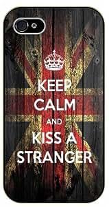 iphone 6 4.7 Keep calm and kiss a stranger, UK flag - black plastic case / Keep calm