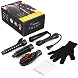 3 in 1 Ionic Hair Straightener Brush with 1-inch Ionic Tourmaline Ceramic Hair Curling Iron, Straightening Brush, Curling Brush and Heat-Resistant Glove, Fast Curling and Styling, Black