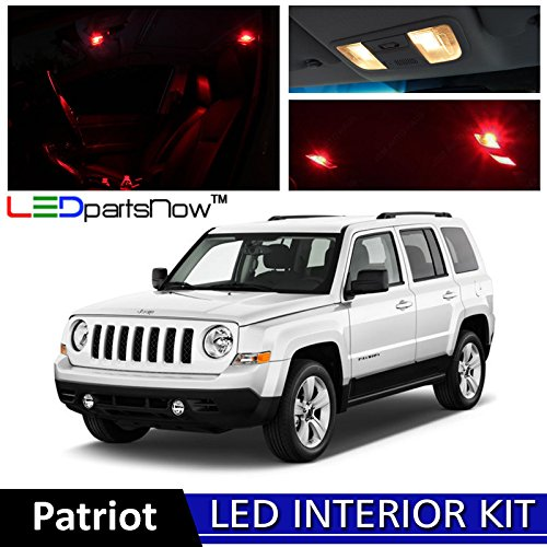 7 Jeep Patriot LED Interior Lights Accessories Replacement Package Kit (6 Pieces), RED ()