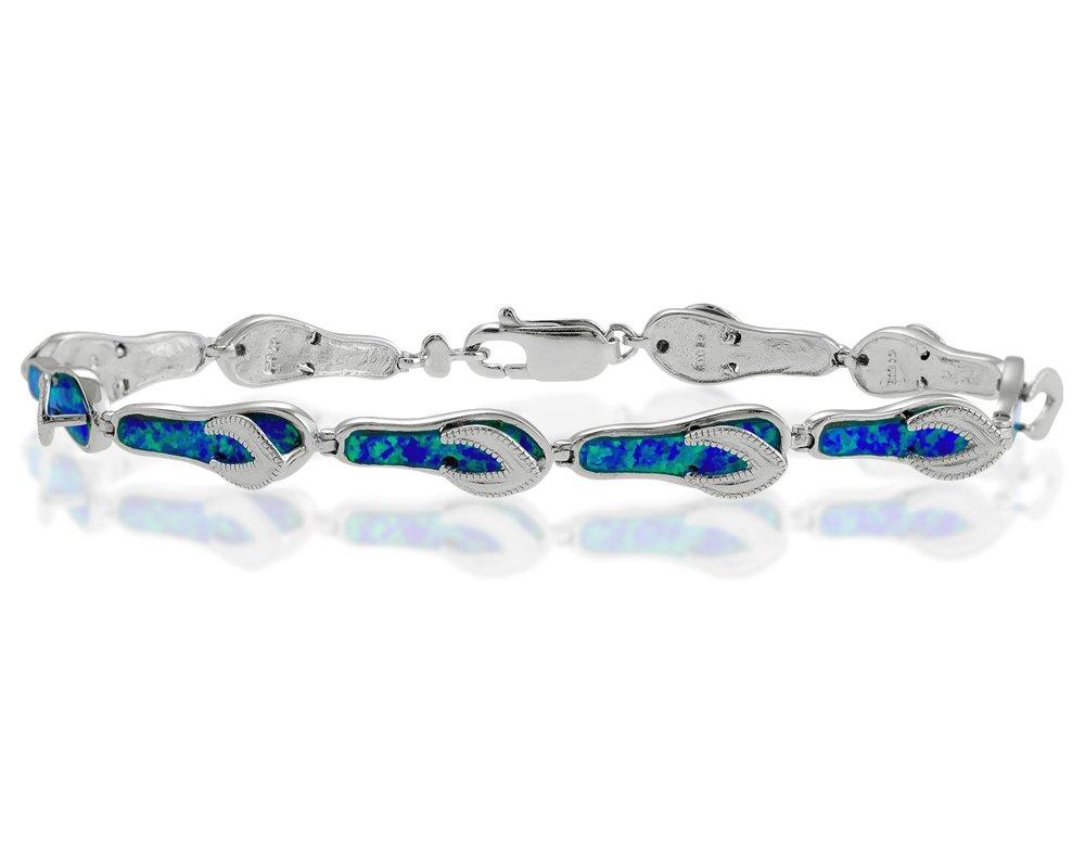 Sterling Silver 7.5'' Created Blue Opal Flip-Flop Link Bracelet